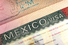 Visa of Mexico in the international passport and Mexican pesos, Stock Image