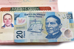 Visa of Mexico in the Russian international passport and Mexican pesos Stock Photography