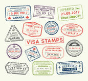 Visa passport stamp. Isolated set of visa passport stamp for travel to Canada or USA, Uk or China, Venezuela or Dominican republic, Japan or Egypt, Korea or vector illustration