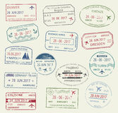 Visa passport stamp symbol set for travel design Royalty Free Stock Photo