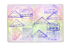 Visa and passport stamps. On a white background Stock Photo