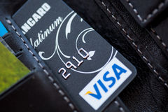 Visa Platinum in the wallet Stock Photography