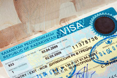 Visa of a Republic of Kazakhstan Royalty Free Stock Image