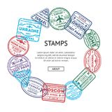Visa rubber stamps round composition royalty free illustration