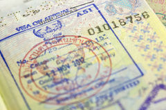 Visa stamp. Passport with thailand visa stamps Stock Images