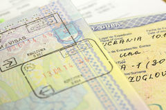 Visa stamp. Passports with visa cuba stamps Royalty Free Stock Photography