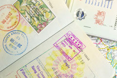 Visa stamp. Passports with turkey, korea, myamar (burma) visa stamps royalty free stock photos