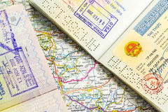 Visa stamp. Passports with vietnam and thailand visa stamps Stock Image