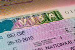 Visa stamp travel. Passport immigration macro emigration stock images