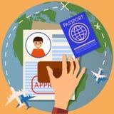 Visa stamping. Passport or visa application. Travel immigration stamp, vector illustration stock illustration