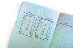 Visa Stamps in American Passport Stock Photo