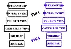Visa stamps - cdr format Royalty Free Stock Images
