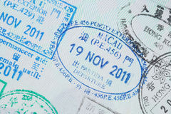 Visa stamps in passport Stock Photography