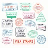 Visa stamps or passport signs of immigration. Set of isolated visa passport stamps of arriving to toronto canada or united kingdom, UK or Milan city in Italy royalty free illustration