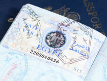Visa stamps in US passport royalty free stock photography