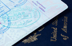 Visa stamps in US passport Royalty Free Stock Photos