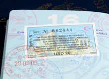 Visa stamps in US passport Royalty Free Stock Images