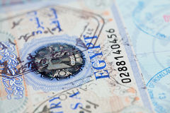Visa stamps in US passport Stock Photo