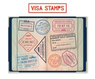Visa stamps for USA and Korea, Georgia and France Stock Images