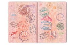 Visa, Stempel, Dichtungen im Pass Hintergrund mit verschiedenem stockbilder