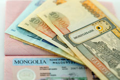 Visa to Mongolia and Mongolian banknotes Stock Photography