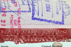 Visa to The United States of America Stock Image