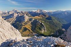 Visa uppifrån av Lagazuoi, Dolomites, Italien Royaltyfria Bilder