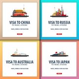 Visa vers la Chine, Russie, Australie, Japon Document pour le voyage Centre d'application de visa Images stock