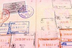Visa y sellos del pasaporte Foto de archivo libre de regalías
