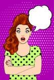 Visage étonné de femme d'art de bruit illustration stock