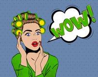 Visage étonné de femme, style d'art de bruit illustration stock