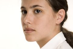 Visage 2. A close-up portrait of a young woman in a white blouse Royalty Free Stock Image
