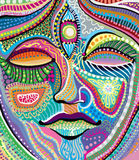 Visage abstrait de femme avec la configuration indienne Images libres de droits