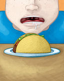 Visage affamé avec le Taco illustration libre de droits