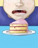 Visage affamé avec une tranche de gâteau illustration libre de droits