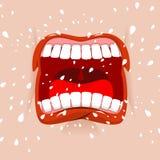 Visage agressif de cri Hurlements d'homme Émotion violente illustration stock