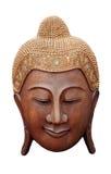 Visage antique en bois rouge de Bouddha de PIÈCE de DÉCOUPAGE Image libre de droits
