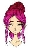 visage aux cheveux roses de fille, expression du visage d'indifférence, visage de tisonnier illustration de vecteur