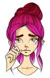 visage aux cheveux roses de fille, expression du visage triste avec l'eyewater illustration de vecteur