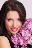 Visage avec des fleurs Photos libres de droits