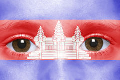 Visage avec le drapeau cambodgien Photo libre de droits