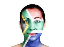 Visage avec le drapeau de l'Afrique du Sud photos libres de droits