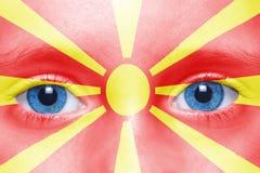 visage avec le drapeau macédonien Image stock