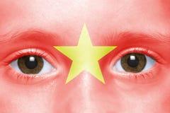 visage avec le drapeau vietnamien Photos libres de droits