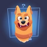 Visage confus de chien avec la question Mark On Blue Background illustration stock