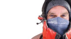 Visage congelé d'homme dans la scène d'hiver Image libre de droits