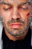 Visage congelé mâle photographie stock