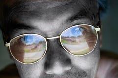 visage critique d'espérance de yeux d'éléments Images stock
