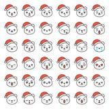 Visage d'émotion d'ours de Santa dans le divers expession, ligne editable icône illustration stock