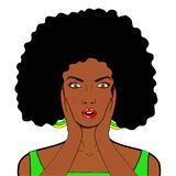 Visage d'art de bruit de wow Femme africaine étonnée sexy avec la bouche ouverte i illustration libre de droits